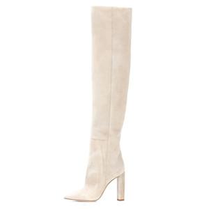 2020 Art und Weise Frauen-Veloursleder über das Knie-lässige Stiefel Spitzen Zehen Chunky Heel Slouch Stiefel hoch Damen Winter-Schuhe mit Absatz