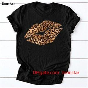 Black Summer 2020 New Plus Size Leopard Print Lip Kiss T Shirt for Women O-Neck Short Sleeve Tees Tops Burgundy Casual Tshirts