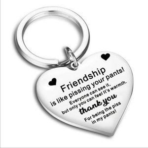 stainless steel heart-shaped friendship Engraved Letters keychain love pendant to best friend