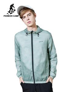 Pioneer Camp İnce Güneş Koruyucu Erkek / Genç Nefes Moda Kapşonlu Erkek Ceket Casual Açık Cilt Coat AJK901055 için Kadın Ceket