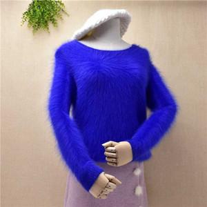 Mulheres roupas de inverno puro mangas compridas azuis Mink Cashmere malha Jumper 100% Angora pele Bottoming camisola Pull feminino