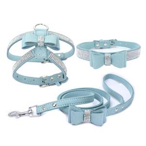 Arnés del perro cuello de la correa Set 3 Peices Traje ajustable suave tela del ante Luminoso diamantes mascotas chalecos para perros Confort Animales Suministros
