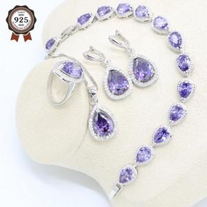 Water Drop Purple Zircon 925 Silver Jewelry Set for Women Bracelet Earrings Necklace Pendant Ring Gift Box