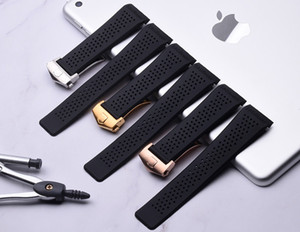 Watch Bands 22mm 24mm Watchbands for Tag Black Diving Silicone Rubber Holes Band Strap Stainless Steel Replacement