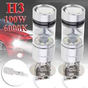2pcs H3 LED Fog Light 100W Super Bright Chips Car Driving Bulb 12 24V White