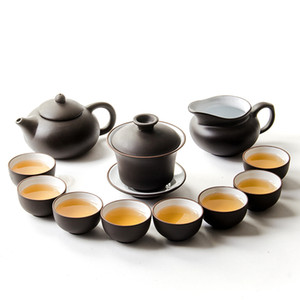 Porzellan Lila Ton Tea Set China Kung Fu TeaPot Infuser Teaset Serving Cup Teacup Teaware Chinese 11pcs Chinese Ceramic Crafts