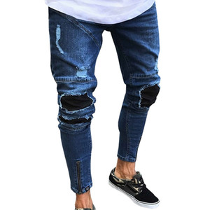 أزياء الرجال الجينز تمتد دمرت ممزق تصميم الأزياء 2020 الجديدة الكاحل زيبر نحيل الجينز للرجال