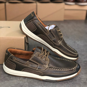 2020 Hot Sales Men pik boat shoe Real Leather Mens Slip-on Shoes Rubber sole Party Wedding Shoe Breathable Designer Shoes with Box