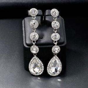 Mode coréenne Boucles d'oreilles Goutte d'eau pendentif en cristal brillant strass long Dangler pour les femmes magnifiques accessoires bijoux de mariée
