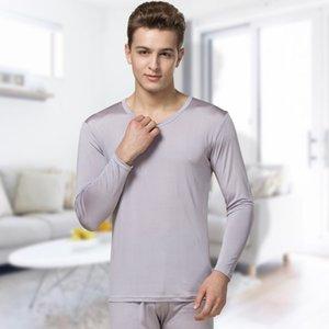 100% seda outono e inverno de alta qualidade de seda respirável seção fina roupa interior térmica dos homens tamanho grande outono roupas calças