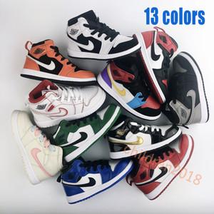 Топ 1 1S Высокие Баскетбольные Кроссовки Для Детей Кроссовки 2019 Дизайнер Bred Toe Game Royal Pine Зеленые Мальчики Девочки Детская Обувь Размер 26-35