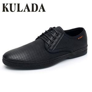 KULADA новые мужские сандалии летние туфли для ходьбы кожа вождения повседневная удобная обувь дышащая мужская Повседневная обувь