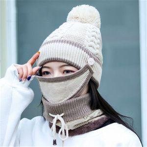 2019 шерсть толстый зима помпон шапочки Skullie кольцо устанавливает женщин Маска шапка шляпа шарф шеи теплый уха мода аксессуары-ВКК-в W7