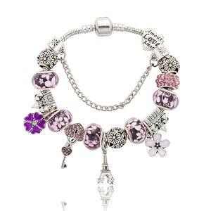 Новый 925 Серебряный Шарм бисер Кристалл браслет Эйфелева башня кулон женщины любят бисер браслет DIY ювелирные изделия Оптовая аксессуары