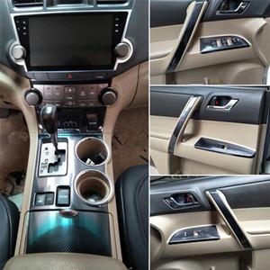 Für Toyota Highlander 2009-2014 Innenzentralsteuerung Türgriff 5DCarbon Faser-Aufkleber-Abziehbilder Auto Styling Accessorie