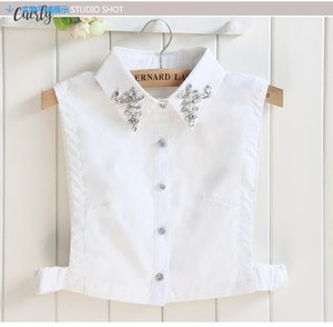 Pearls Embroidery Accessories Half Saving Vest Fake Collar Shirt Female Cotton Lace Nail Bead Vintage Chiffon Spear Ladies Fashion