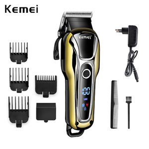 Kemei Km1990 hair clipper professional hair trimmer men beard shaver electric hair clipper LCD monitor 0 mm bald beard trimmer 5 IpGsw