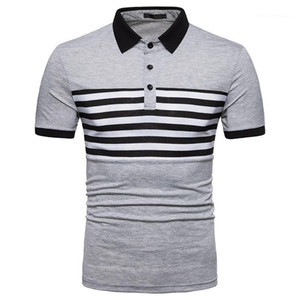 Designer Polo Shirt Mens Lapel Striped Polo Shirt Summer Slim Fit Short Sleeve Casual Top Male