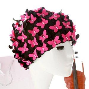 Ladies Swim Cap Swimming Hat Vintage 3D Floral Bathing Swimwear Sports Head Swimming Caps