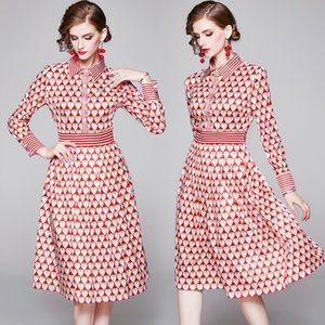 Vestido Womens Long Sleeve Girl Dress Impresso lapela Star Dress Estilo New Arrival Outono Vestidos Fashion Boutique