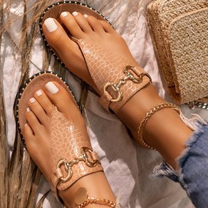2020 Summer Women Slipper Flat Flip Flops Open Toe Ladies Beach Sandals Pu Leather Outdoor Slides Big Size Female Shoes