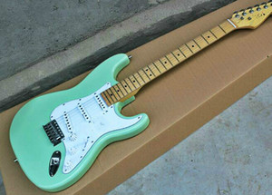 High quality FDST-1023 green color solid body with white pickguard maple fretboard electric guitar, Free shipping
