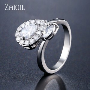 ZAKOL Skinny Teardrop Micro Pave Cubic Zirconia Open Rings for Women Fashion Engagement Wedding Ring Bridal Jewelry FSRP2133