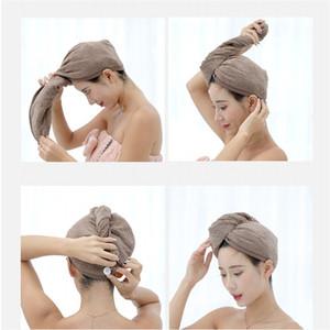 Womens Microfiber Bath chapéu cor sólida espessamento Grades de secagem rápida Caps Bath Shower Cap Com botões de alta qualidade 6rya E1