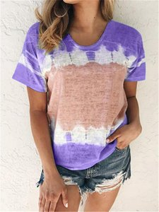 Womens Designer Panelled Tshirts Fashion Contrast Color Print Tops Short Sleeved Crew Neck Cute Casual Girls Undershirt