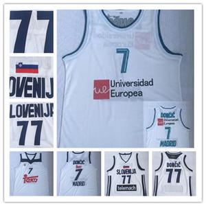 رخيصة Ediwallen رجل لوكا 7 Doncic كرة السلة ريال مدريد Euroleague أوروبا الفانيلة لوكا # 77 Doncic فريق اللون الأبيض مخيط أعلى جودة