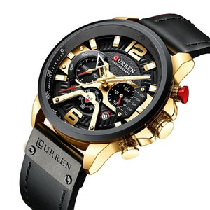 Casual Sport Watches for Men Blue Top Brand Luxury Military Leather Wrist Watch Man Clock Fashion Chronograph Wristwatch