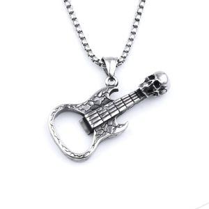 S1396 Hot Fashion Jewelry Vintage Skull Guitar Corkscrew Men's Pendant Necklace Hip Hop Guitar Necklace