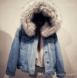 Jackts Bouton à manches longues Femme Vêtements Avec Chapeau Casual Apparel plus de velours Femmes d'hiver Designer Jeans
