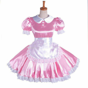 rosa Sissy Maid Dress raso Uniforme bloccabile cosplay su misura