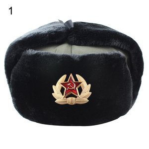 Unisex Star Badge Earflap Soviet Hat Thicken Warm Windproof Riding Snow Cap Mountaineering waterproof and windproof warm hat