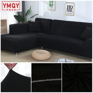Sólido cor tampa do sofá estiramento elástico sofá cobre para Sala Couch Cobre seccional de canto em forma de L da tampa H