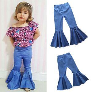 Малыш Дети Девушка Flare Boot Cut Длинные Брюки Детские Брюки Джинсовые Синие Брюки С Высокой Талией