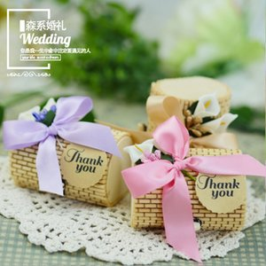 240 X Personalized Creative Cylinder Shape Bamboo Wedding Favors Candy Boxes Party Gift Box with Bowknot & Tag