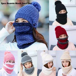 3 PCS New Inverno Beanie Hat Scarf Set lã quente Balaclava gorro de esqui de neve para Kid Homens Mulheres