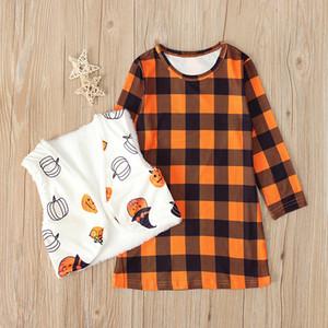 Los niños niñas primavera y el otoño de la estación de manga larga a cuadros de Halloween Dress + calabaza chaleco de dos piezas de desgaste P010 infantil