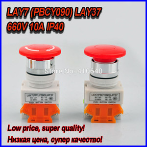 Free shipping Red Mushroom Stop Push Button Switch Cap LAY7 PBCY090 LAY37 DPST 660V and 10A LOW COST and HOT SALE