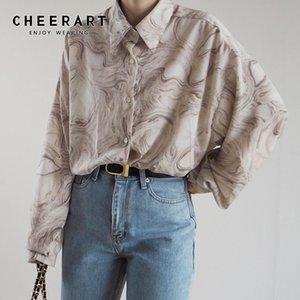 CHEERART Tie Dye manga comprida Blusa Plus Size colarinho shirt para mulheres soltas Blusa Designer coreano Moda