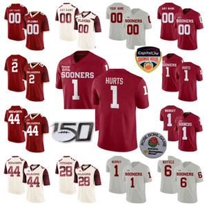 Oklahoma logo Jerseys Tanner Mordecai Jersey Trey Sermão Spencer Rattler Kenneth Murray Jr. Caleb Kelly Football Jerseys costurados