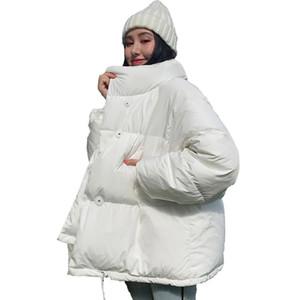 Корейский стиль зима Puffer Jacket женщин Стенд Воротник Твердая Черный Белый Женщины вниз пальто сыпучих Крупногабаритные Womens Короткие Parka