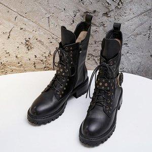 الكعوب الشتاء أحذية نسائية المسامير أحذية الكاحل للنساء ميد أحذية بوتاس موهير للدراجات النارية أحذية أزياء السيدات Zapatos دي موهير