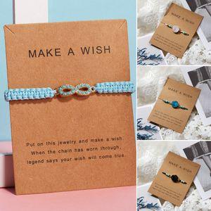Classic Multi-layer Wear Summer Gift Handmade Heart Star Adjustable Rope Women Bracelet Bangle Friendship Couple Card Jewelry