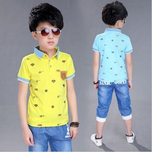 New Summer Teenager Boys Short Sleeve T shirt Denim Shorts Sports Tracksuit Suits Clothing Sets For Boy Sets 5 6 8 10 12 Years