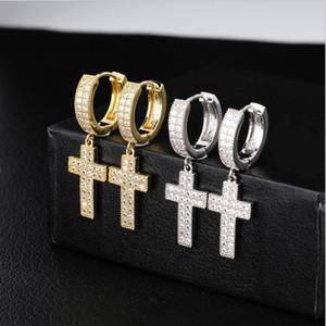 Doble hilera de circón pendiente de oro de 18 quilates cruz con plena cz hip hop diamante pendiente personalizado