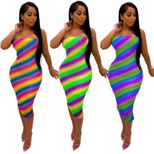 2020 mujeres del diseñador que bodycon vestido de verano de rayas multicolor de la raya vertical del cuello del vestido ocasional de la ropa de moda femenina