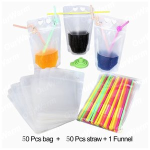 Party Decoration 50Pcs Boisson Sac nourriture Jus Conteneurs Pailles Birthday Party Supplies hawaïenne de boisson à usage unique Pouches